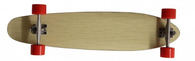 Koston Profi Longboard Komplettboard Natural Bamboo mit Orangeroten Longboard Wheels 100 x 22.5 cm Complete