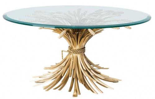 Casa Padrino Luxus Couchtisch / Wohnzimmertisch Antik Gold Ø 90 x H. 43 cm - Designermöbel