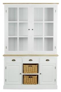 Casa Padrino Landhausstil Schrank mit 2 Glastüren Antik Weiß / Naturfarben 123 x 32 x H. 200 cm - Landhausstil Möbel