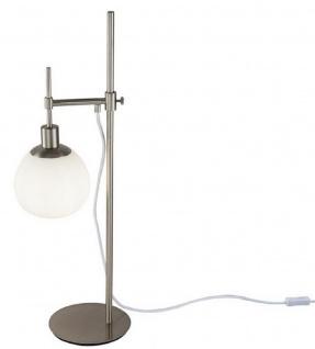 Casa Padrino Tischleuchte Silber / Weiß 17 x H. 65 cm - Höhenverstellbare Tischlampe mit rundem Mattglas Lampenschirm