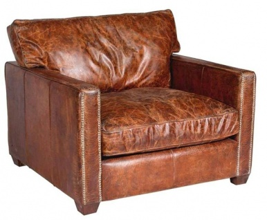 Casa Padrino Luxus Leder Sessel Vintage Braun 100 x 100 x H. 89 cm - Echtleder Möbel