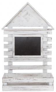 Casa Padrino Landhausstil Shabby Chic Wandhängeschrank Antik Weiß 60 x 21 x H. 38 cm - Handgefertigter Hängeschrank mit Kreidetafel