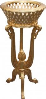 Casa Padrino Barock Pflanzentopfständer aus Holz Gold Antik-Look - Blumentopfständer, Blumenständer