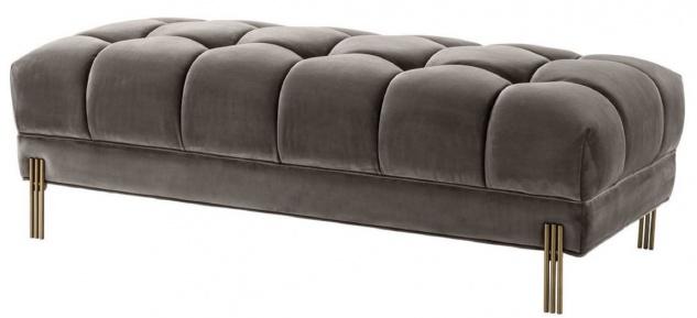 Casa Padrino Luxus Sitzbank Grau / Messingfarben 133 x 59 x H. 42 cm - Gepolsterte Samt Bank mit Edelstahl Beinen - Luxus Kollektion