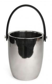 Casa Padrino Luxus Weinkühler mit Ledergriff Silber / Schwarz Ø 19 x H. 23 cm - Hotel & Restaurant Accessoires