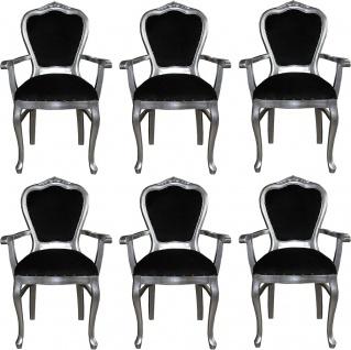 Casa Padrino Luxus Barock Esszimmer Set Schwarz / Silber 60 x 47 x H. 99 cm - 6 handgefertigte Esszimmerstühle mit Armlehnen - Barock Esszimmermöbel