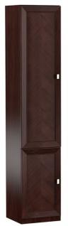 Casa Padrino Luxus Wohnzimmerschrank mit 2 Türen Dunkelbraun / Silber 45, 4 x 44, 2 x H. 225, 6 cm - Regalschrank Büroschrank - Luxus Möbel