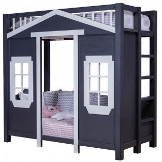 Casa Padrino Landhausstil Kinderhaus Bett Dunkelblau / Grau 208 x 102 x H. 196 cm - Kinder Hochbett mit Leiter - Landhausstil Kinderzimmer Möbel