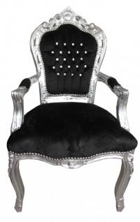 Casa Padrino Barock Esszimmer Stuhl mit Armlehnen Schwarz / Silber Bling Bling Glitzersteinen - Möbel