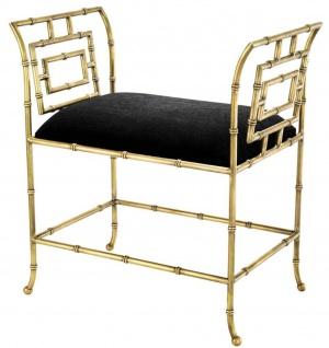 Casa Padrino Luxus Sitzbank Vintage Messingfarben / Schwarz 66 x 42 x H. 73 cm - Luxus Möbel