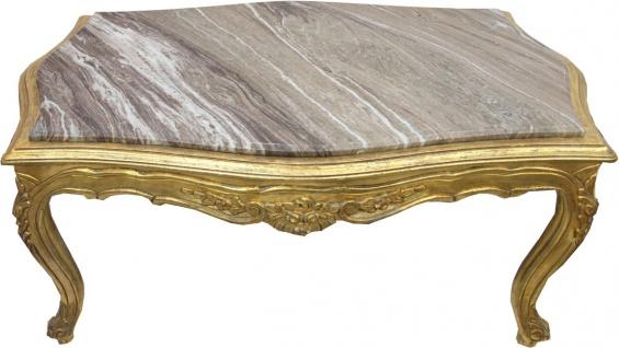 Casa Padrino Barock Couchtisch Gold mit eingesetzter Marmorplatte - Möbel Wohnzimmer Tisch Antik Stil