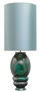 Casa Padrino Luxus Keramik Tischleuchte Silber / Grün Ø 50 x H. 135 cm - Handgefertigte Tischlampe mit türkisfarbenem Lampenschirm