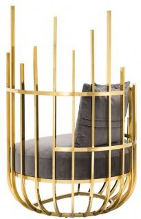 Casa Padrino Designer Sessel rechtsseitig mit 2 Kissen Grau / Gold 91, 5 x 75 x H. 136, 5 cm - Designer Wohnzimmer Möbel - Luxus Qualität - Vorschau 3