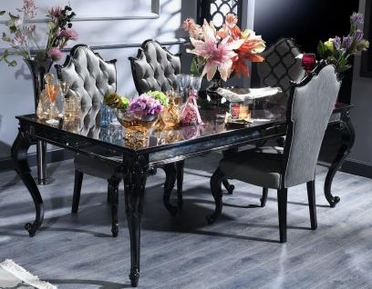 Casa Padrino Luxus Barock Esszimmer Set Silber / Grau / Schwarz - 1 Esstisch & 6 Esszimmerstühle - Esszimmermöbel im Barockstil - Luxus Qualität - Made in Italy