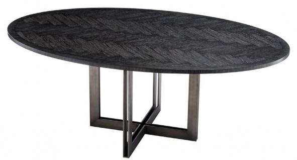 Casa Padrino Luxus Esstisch Schwarz / Bronze 200 x 120 x H. 76 cm - Ovaler Küchentisch - Luxus Esszimmer Möbel - Vorschau 4
