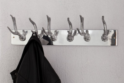 Casa Padrino Designer Wandhalterung Garderoben Haken Garderoben Halter Garderobe - Wand Garderobe mit 6 Haken