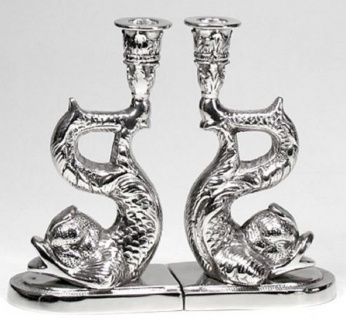 Casa Padrino Luxus Kerzenhalter Set Fische Silber 12 x 8 x H. 20 cm - Hotel & Restaurant Deko Accessoires