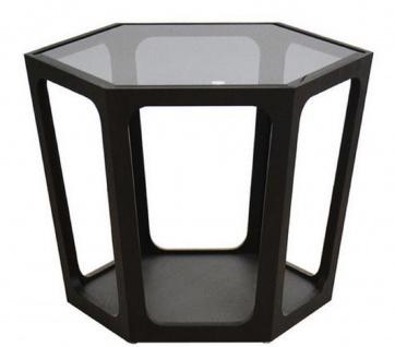 Casa Padrino Luxus Couchtisch Schwarz 70 x 61 x H. 44 cm - Wohnzimmertisch mit schwarz getönter Glasplatte - Wohnzimmer Möbel - Luxus Möbel
