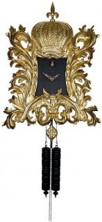 Pompöös Schwarzwälder Kuckucksuhr mit Krone Gold / Schwarz 55 x H. 68 cm - Handgeschnitzte Wanduhr im Rokoko Stil veredelt mit 22K Gold - designed by Harald Glööckler