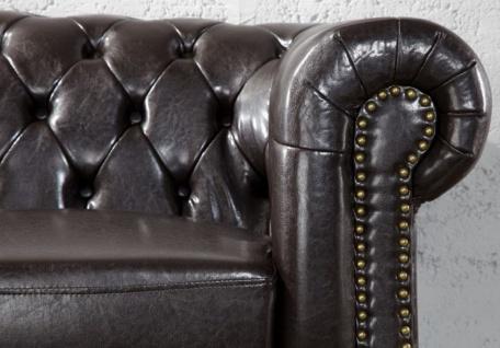 Casa Padrino Chesterfield Wohnzimmer Sofa 150 x 85 x H. 75 cm - Kunstleder 2er Couch - Chesterfield Möbel - Vorschau 3