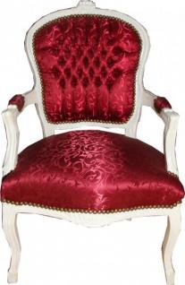 Casa Padrino Barock Salon Stuhl Bordeaux Rot Muster / Antik Weiss - Stühle Möbel