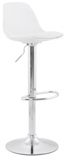 Casa Padrino Barstuhl Weiß / Silber H. 81-104 cm - Moderner höhenverstellbarer Barhocker mit hochwertigem Kunstleder - Barmöbel