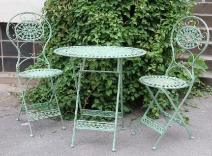 Jugendstil Gartenmöbel Set Antik Stil grün - 1 Tisch, 2 Stühle - Metall Gartenmöbel