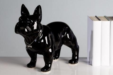 Designer Bulli schwarz Höhe 29 cm, Länge 35 cm edle Skulptur aus Keramik - Edel & Prunkvoll