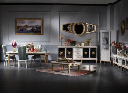 Casa Padrino Luxus Barock Wohnzimmer & Esszimmer Set Türkis / Weiß / Gold - Barockmöbel