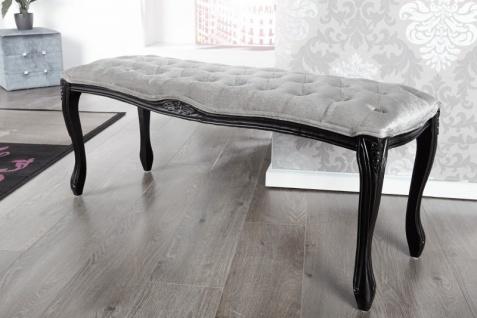 Casa Padrino Barock Sitzbank Silbergrau / Schwarz Breite 115 cm, Höhe 45 cm - Antik Stuhl - Vorschau 2