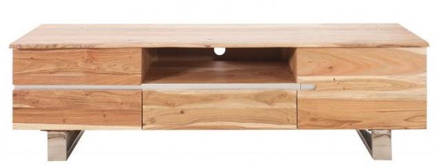 Casa Padrino Luxus Fernsehschrank Natur B.160 x H.50 x T.45 - Sideboard - Kommode - Handgefertigt aus massivem Akazienholz!