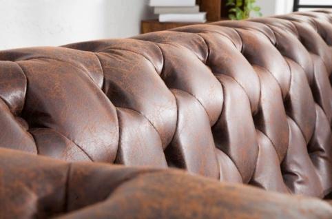 Casa Padrino Chesterfield Sofa Vintage Braun 200 x 85 x H. 70 cm - Kunstleder 3er Couch - Chesterfield Wohnzimmer Möbel - Vorschau 4