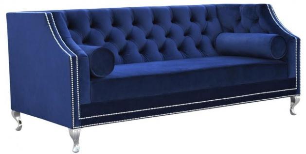 Casa Padrino Luxus Chesterfield Samt Sofa mit Kissen 172 x 84 x H. 76, 5 cm - Verschiedene Farben - Chesterfield Wohnzimmer Möbel - Vorschau 2