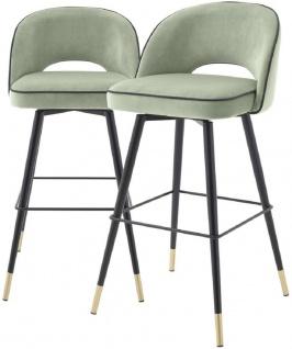 Casa Padrino Luxus Barstuhl Set Pistaziengrün / Schwarz / Messingfarben 51 x 52 x H. 103 cm - Barstühle mit drehbarer Sitzfläche und edlem Samtsoff - Luxus Bar Möbel