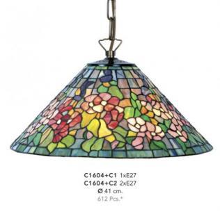Handgefertigte Tiffany Hängeleuchte von Casa Padrino Durchmesser 41 cm, 1-Flammig - Leuchte Lampe - wunderschöne Deckenleuchte