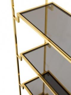 Casa Padrino Luxus Regal Schrank Edelstahl Gold mit Rauchglas B 90 x H 230 cm Bücherregal Regal Schrank - Art Deco Möbel - Vorschau 3