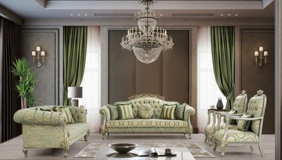 Casa Padrino Luxus Barock Wohnzimmer Set Grün / Gold / Grau / Gold - 2 Sofas & 2 Sessel - Wohnzimmer Möbel im Barockstil - Edel & Prunkvoll