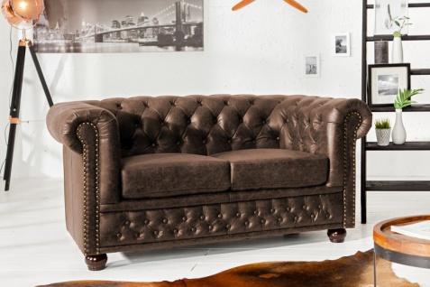 Casa Padrino Luxus Spaltleder 2er Sofa Vintage Braun 150 x 85 x H.70cm- Chesterfield Möbel - Vorschau 3