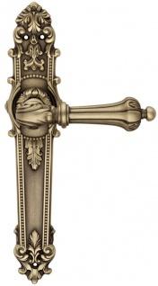 Casa Padrino Barock Türklinken Set 14, 7 x H. 29 cm - Verschiedene Farben - 2 Prunvolle Messing Türgriffe mit Platten - Luxus Qualität - Made in Italy
