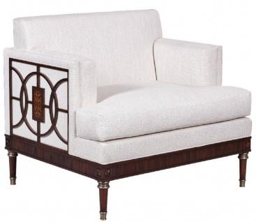 Casa Padrino Luxus Art Deco Lounge Salon Sessel Weiß / Dunkelbraun 92 x 83 x H. 82 cm - Art Deco Wohnzimmer Möbel - Luxus Qualität
