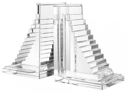 Casa Padrino Designer Kristallglas Buchstützen 2er Set - Luxus Hotel Dekorationen