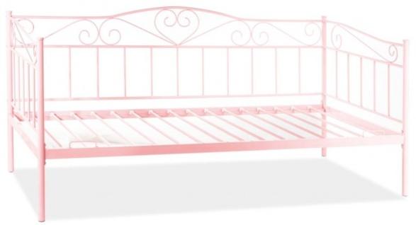 Casa Padrino Landhausstil Bett Rosa 208 x 96 x H. 97 cm - Metall Einzelbett - Schlafzimmer Möbel im Landhausstil
