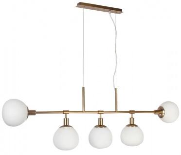 Casa Padrino Hängeleuchte Messing / Weiß 120 x H. 37, 3 cm - Moderne Metall Hängelampe mit Mattglas