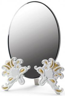 Casa Padrino Luxus Schminkspiegel 29 x H. 41 cm - Verschiedene Farben - Hangefertigter Schminktisch Spiegel aus feinstem Spanischen Porzellan