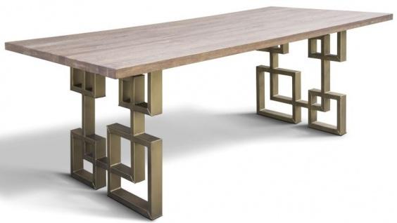 Casa Padrino Designer Massivholz Esstisch mit rustikaler Eichenholz Tischplatte und Stahl Beinen - Verschiedene Farben & Größen - Esszimmer Tisch