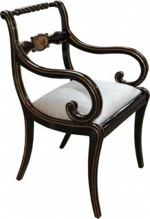 Casa Padrino Luxus Barock Stuhl mit Armlehnen Schwarz / Gold / Creme - Luxus Schreibtisch Stuhl