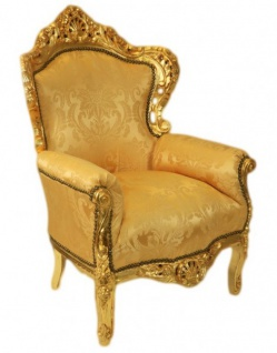 Casa Padrino Barock Sessel King Gold Muster / Gold Bouquet - Möbel Antik Stil - Vorschau 2