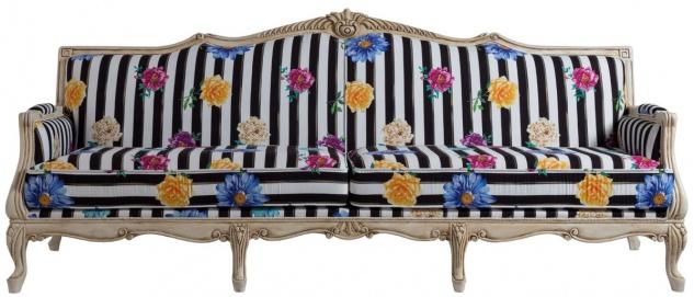 Casa Padrino Luxus Barock Sofa Schwarz / Weiß / Mehrfarbig / Antik Cremefarben 245 x 80 x H. 100 cm - Gestreiftes Barockstil Sofa mit Blumenmuster - Barock Wohnzimmer Möbel