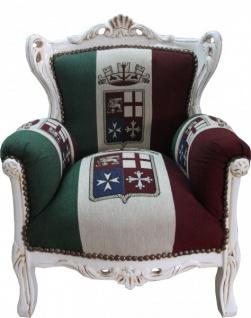 Casa Padrino Barock Kinder Sessel Italien / Creme - Thron Italien Italienische Flagge Tron