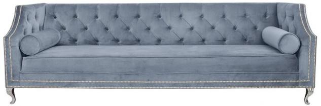 Casa Padrino Luxus Chesterfield Samt Sofa mit Kissen 225 x 84 x H. 76, 5 cm - Verschiedene Farben - Chesterfield Wohnzimmer Möbel